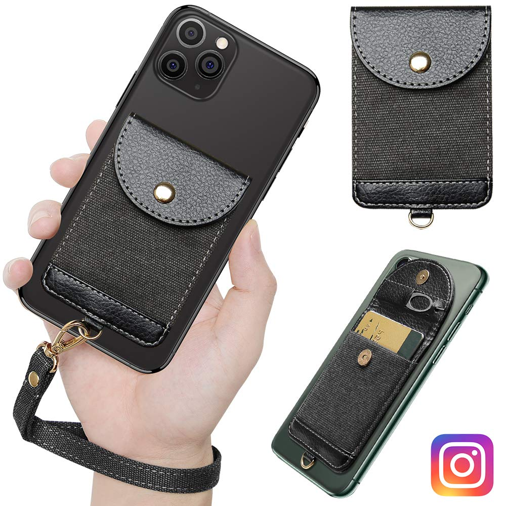 Doormoon Phone Wallet with Strap, Credit Card Cash Holder Stick on Cell Phone Leather Wallet 3M Adhesive Sleeve Compatible with iPhone Samsung Smartphone (Black)