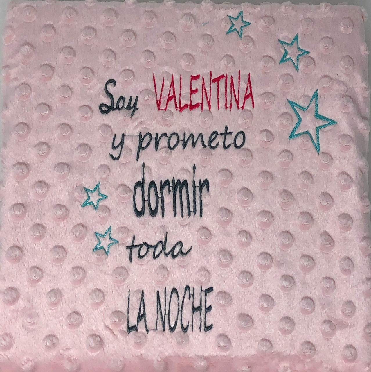 Danielstore- Manta Bordada Personalizada, Carrito Bebe-Capazo (1,10 x 0,80 cm) (rosa)