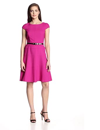 Anne Klein Women's Cap-Sleeve Solid Dress,Peony,4