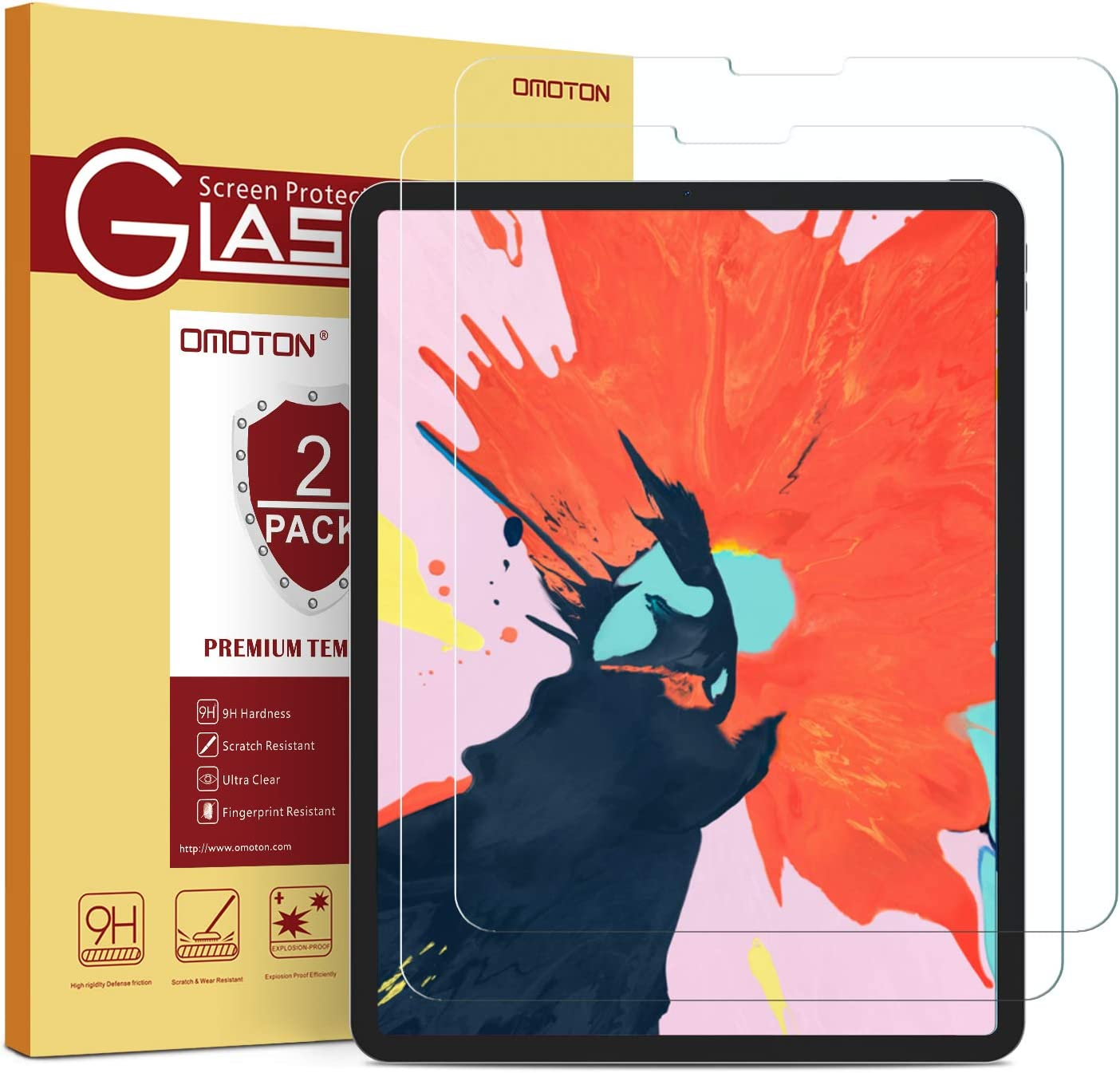 OMOTON [2 Pack] Screen Protector for iPad Pro 12.9 2018 (3rd Gen) [Work with Face ID & Apple Pencil] - Tempered Glass/High Definition / 9 Hardness