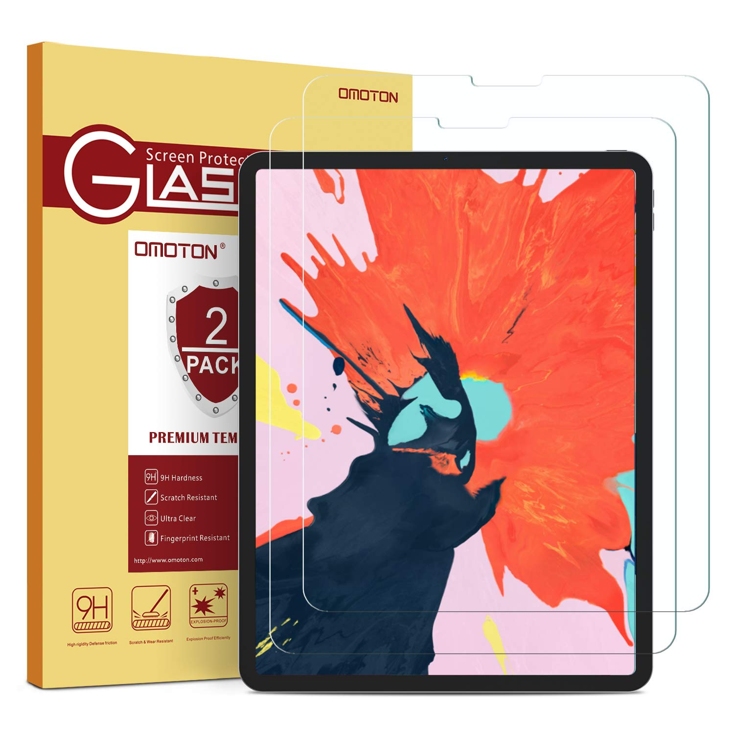 OMOTON Tempered Glass Screen Protector Compatible with All New All Screen iPad Pro 12.9-inch 2018 Release [2 Pack] Screen Protector for iPad Pro 12.9