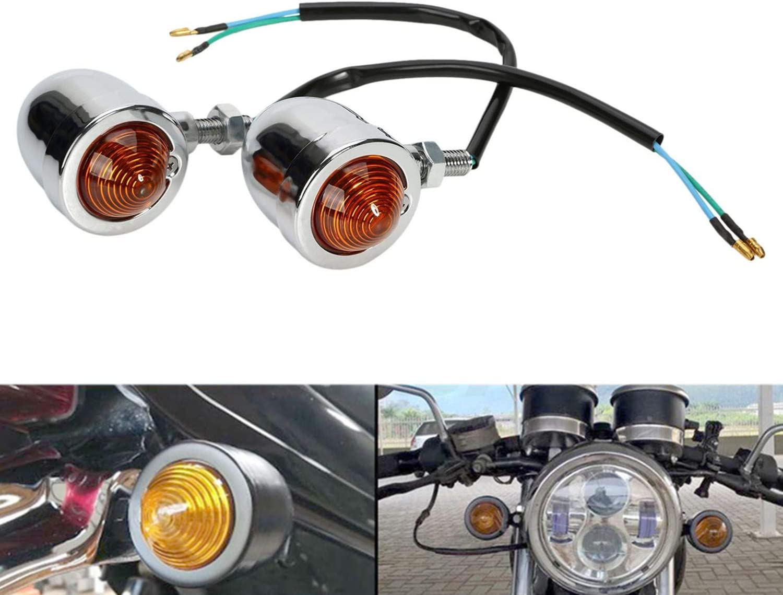 GOOFIT Black 12V 10W Vintage Refit Chrome//Amber Bullet Flashing Light Headlight Lamp Mini Motorcycle Turn Signals Indicator Running Shape Scooter Chopper Bobber Cafe Racer Motorbike Street Sports Bike