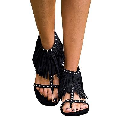 8debcb336 Syktkmx Womens Fringe Tassel Flat Thong Rivet Strappy Ankle Wrap Summer  Dress Sandals Black