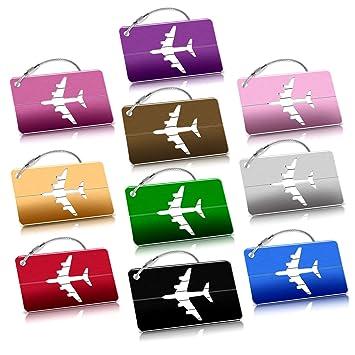 f9490f4b0b Avion Bagages Étiquettes, 10 Couleurs Aluminium Étiquettes Voyage Valise  Bagages ID Tags pour sac à