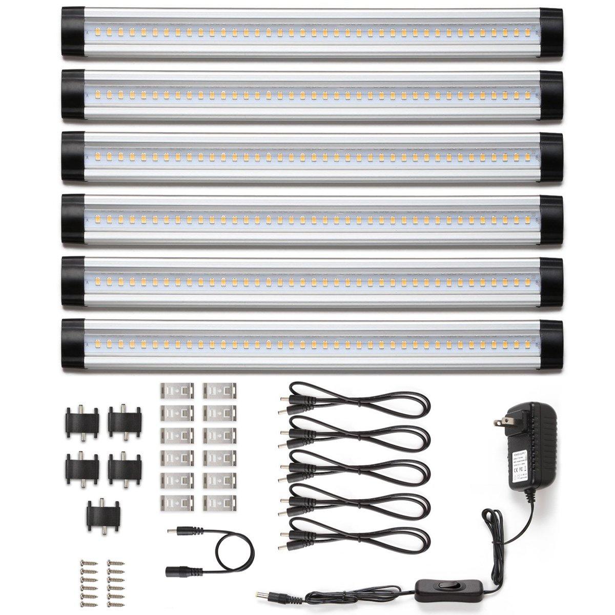 LE Under Cabinet LED Lighting, 6 Panel Kit, 24W Total, 12 V DC, 1800lm, 3000K Warm White