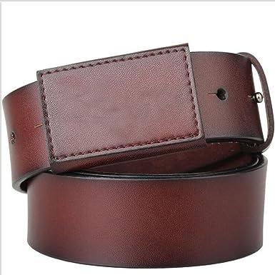 FGSJEJ Ceinture hypoallergénique ceinture lisse boucle hommes ceinture en  cuir boucle ceinture personnalité décontractée boucle en d9b7d014c90