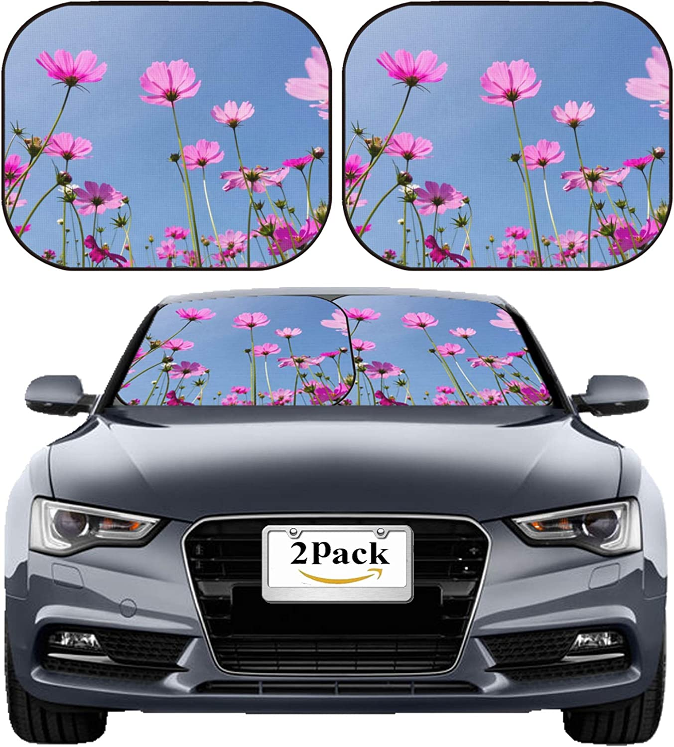 UV and Heat MSD Car Sun Shade Windshield Sunshade Universal Fit 2 Pack Protect Car Interior Block Sun Glare Image ID: 27079051 Purple Flowers againts with Blue Sky and Sunlight