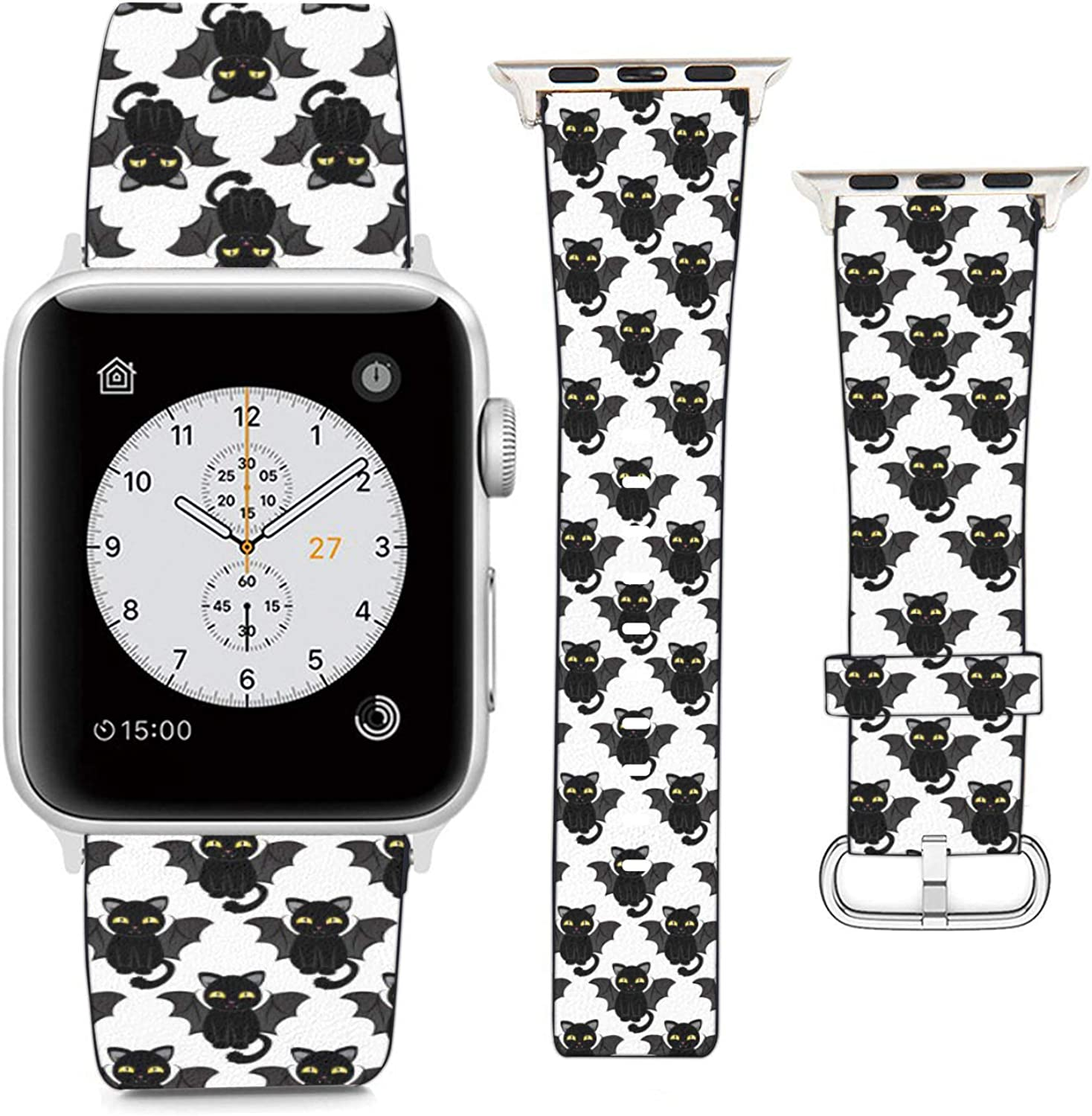 Compatible with Apple Watch Wristband 38mm 40mm, (Funny Cats Costume Bats) PU Leather Band Replacement Strap for iWatch Series 5 4 3 2 1