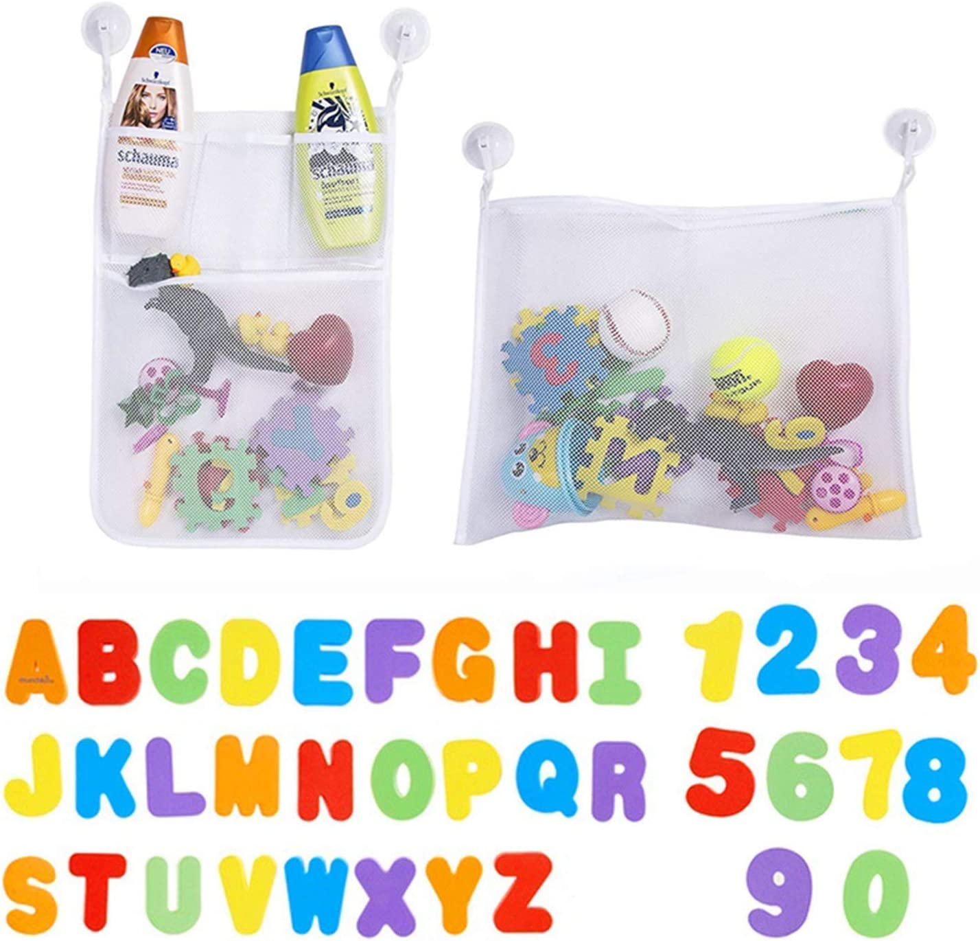 Toddlers Large Toy Organiser Net Bag for Baby Boys /& Girls and Shower Caddy Bonuses Junxave 2 x Mesh Baby Bath Toy Storage 36 Bath Toys Letters and Numbers 6 Ultra Strong Suction Hooks