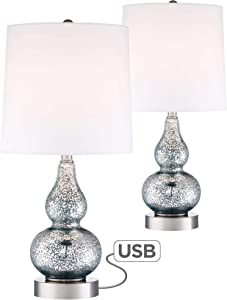 Castine Modern Accent Table Lamps Set of 2 with USB Charging Port Blue Mercury Glass White Drum Shade for Living Room Family - 360 Lighting