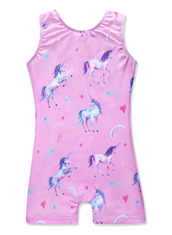 Pink unicorn gymnastics leotards for girls 4t 5t 4-5 years old purple biketards by HOZIY
