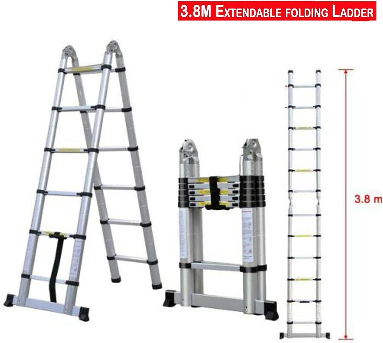 recta, 3,8 m 5 m escalera de extensi/ón de aluminio EN131 marco A y recta 3,2 m 3,8 m Escalera telesc/ópica plegable multiusos de 2,6 m