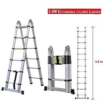 Escalera plegable telescópica multiusos de 2,6 m/3,2 m/3,8 m/5 m de aluminio, escalera de extensión con marco en A/escalera recta, EN131: Amazon.es: Bricolaje y herramientas