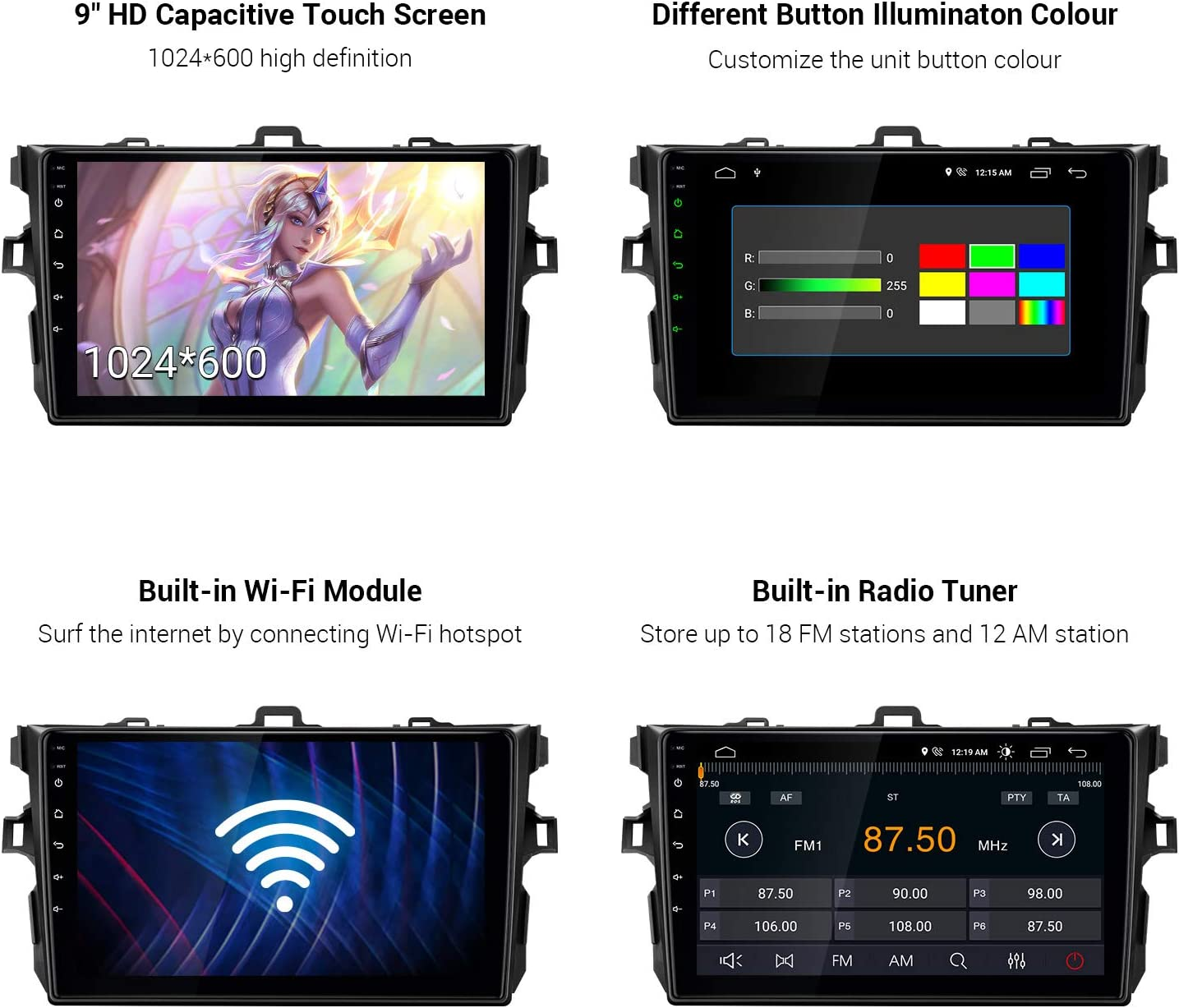 XTRONS Android 10.0 Car Stereo Radio Player 9 Inch IPS Touch Screen GPS Navigation Built-in DSP Bluetooth Head Unit Supports Android Auto Full RCA Backup Camera WiFi OBD2 DVR TPMS for Toyota Corolla