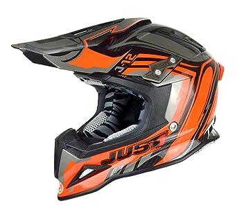 Just 1 Helmets J12 Casco de Motocross, Negro/Naranja, XS