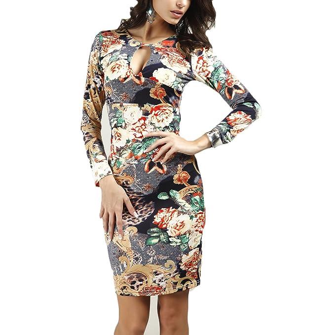 Vestido para Mujer Vintage Cuello V Estampado Delgado Lápiz Delgado Clásico Vestido de Fiesta Atractivo (