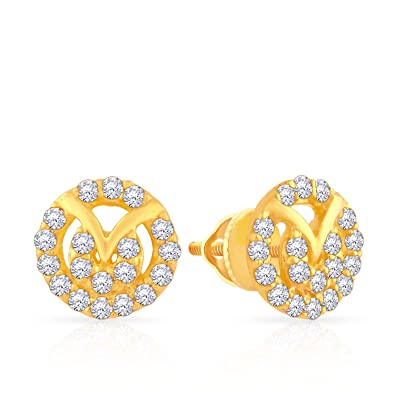 b0ce32fb3 Malabar Gold and Diamonds 22k Yellow Gold and Cubic Zirconia Stud Earrings  for Women