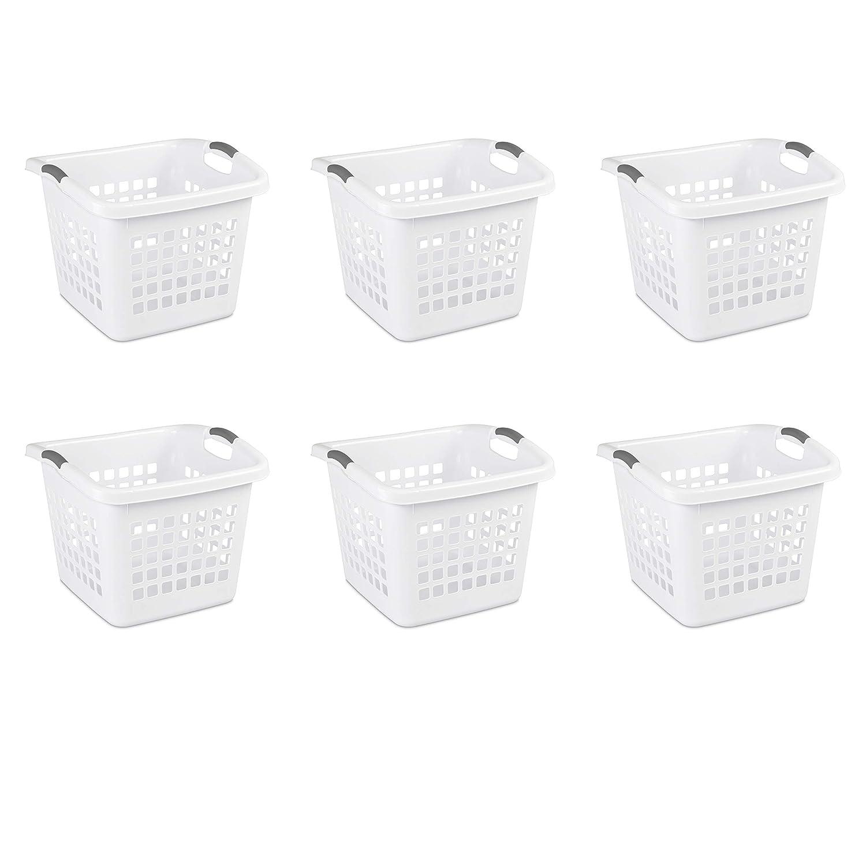 Sterilite 12078006 1.75 Bushel/62 Liter Ultra Square Laundry Basket, White Basket w/ Titanium Inserts, 6-Pack