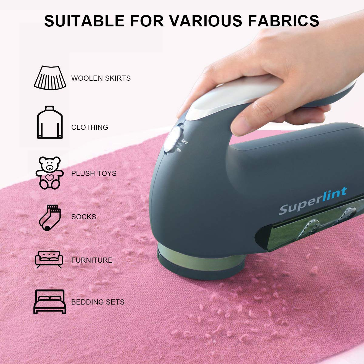 SUPER LINT Professional Electric Sweater Shaver Best Fuzz Pill Bobble Remover for Fabrics, Bedding, Clothes and Furniture, Use with Batteries or Power Adapter, Marine Blue & Silver by SUPER LINT (Image #3)