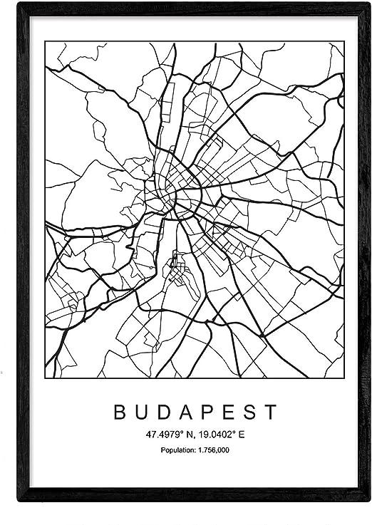 Nacnic Lámina Mapa de la Ciudad Budapest Estilo nordico en Blanco ...
