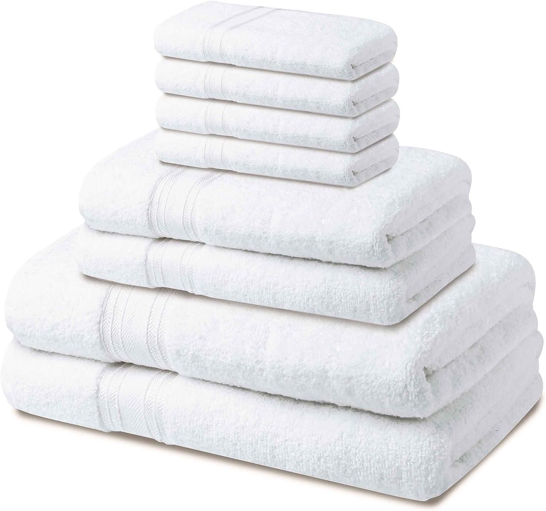 HOME LABELS TRANSFORM YOUR LIVING 600 GSM 8 Pack Bath Towel Set - White