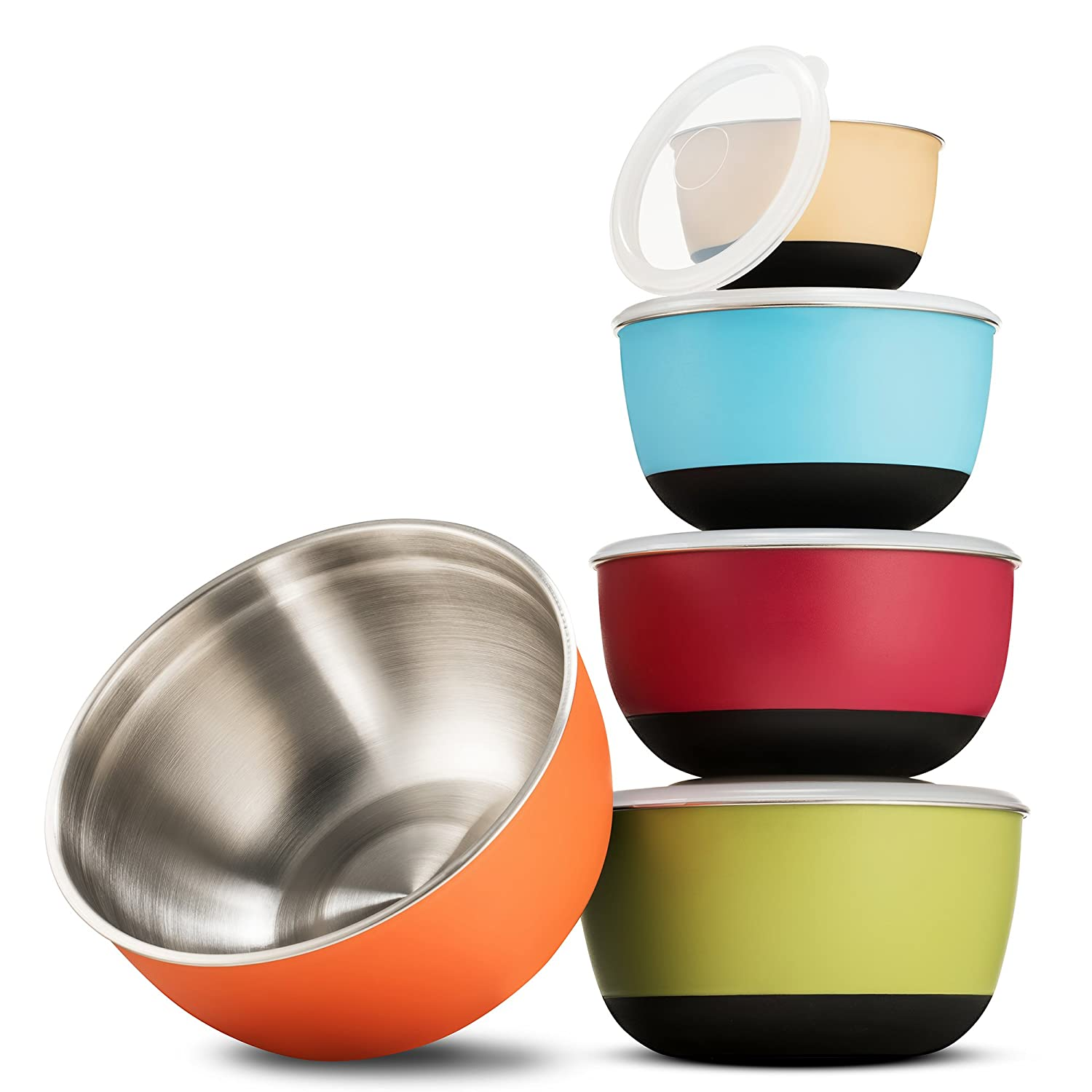 FineDine Multicolor Stainless Steel Mixing Bowl Set of 5, Stainless Steel with Plastic Exterior Non-Skid Bottom for Easy Mixing - ¾ , 1 ½, 2 ⅖, 3, and 5 qt Sizes. 1 ½ 2 ⅖ FD-S1201