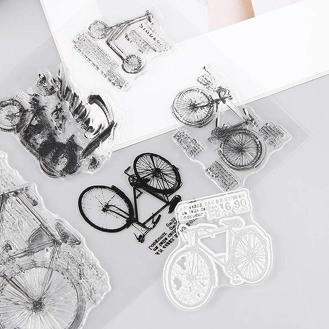 Fogun Sellos claras Transparente Bicicleta Recortes Clear Stamp de Silicona para DIY Manualidades decoraci/ón Regalo Noel ni/ño