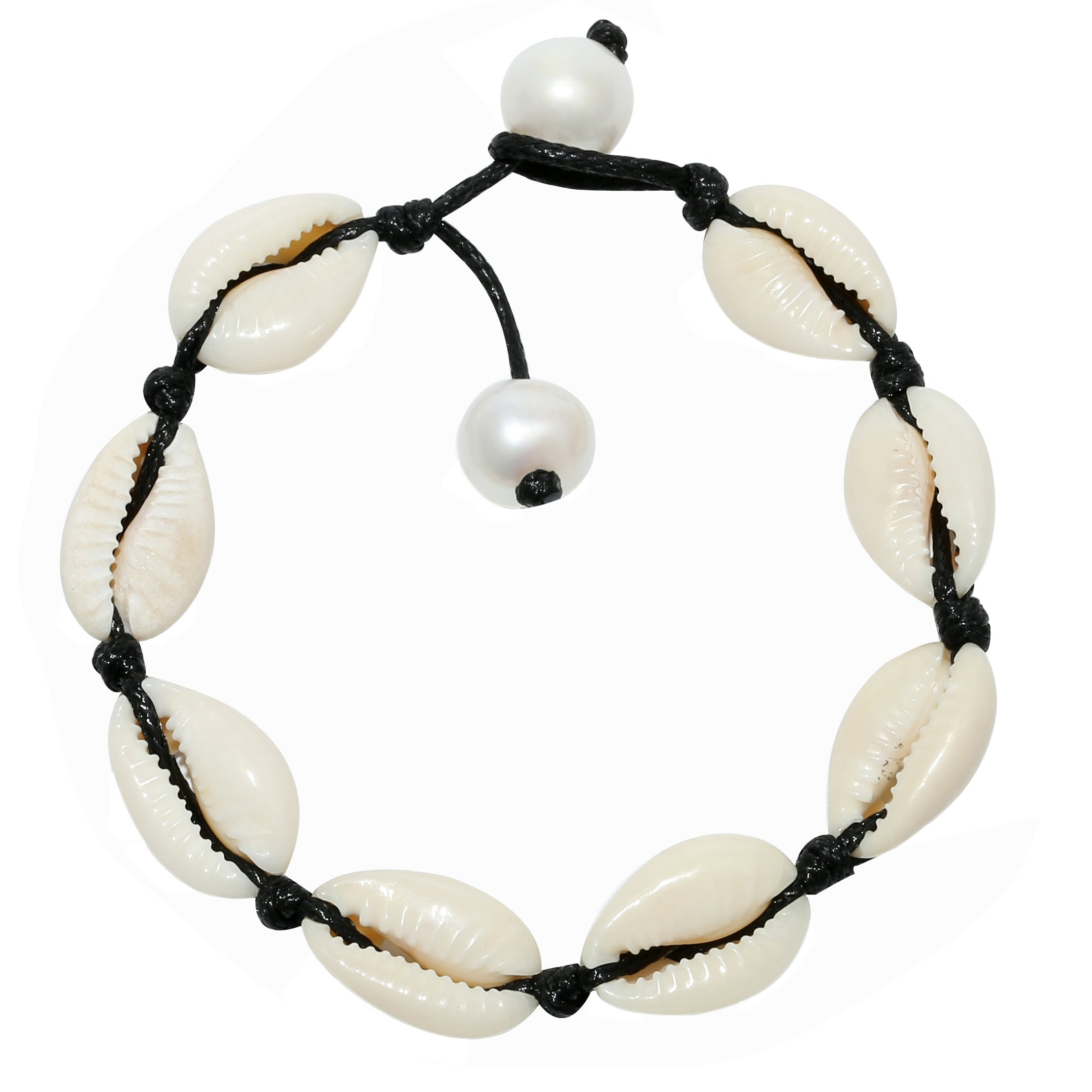 POTESSA Tropical Shell Beads Anklets Handmade Black Wax Cord Ankle Beach Foot Jewelry Adjustable