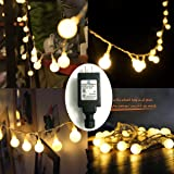 EchoSari® Frosted Warm White Globe Outdoor String Lights 100 LED Low Voltage 24V Ul Plug-in String Light