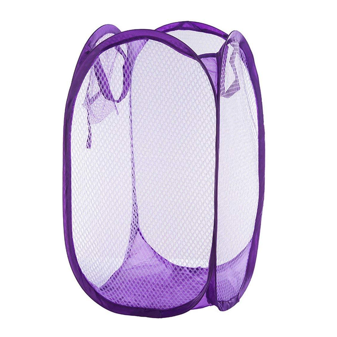 P/úrpura Pr/áctico plegable Aparato emergente para lavar la ropa Cesta de lavander/ía Color s/ólido Malla Ropa sucia Bolsa de almacenamiento Bolsa para el hogar