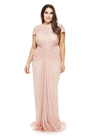 Amazon.com: Newdeve Women Chiffon Champagne Plus Size Formal Dresses ...