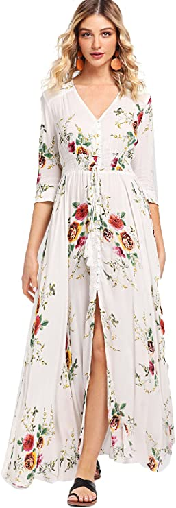 Milumia Women's Button Up Split Floral Print Flowy Party Maxi Dress Large White-1 best women's spring dresses
