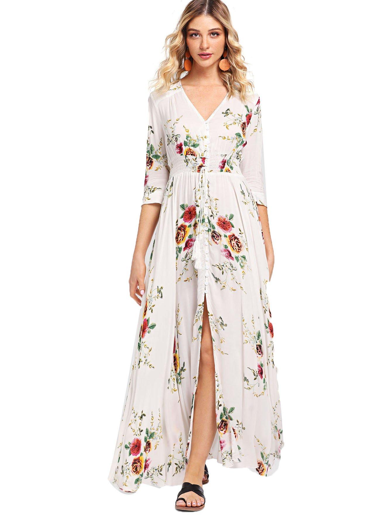 Milumia Women's Button up Split Floral Print Flowy Party Maxi Dress Small White-1