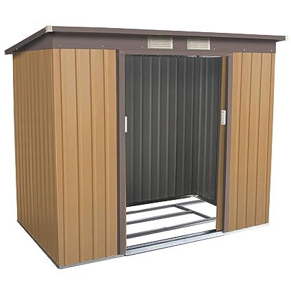 Goplus 4u0027 X 7u0027 Outdoor Storage Shed Garden Sliding Door Outside Tool House (