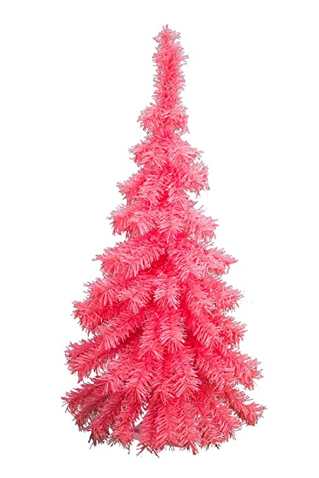 3ft pink hanging wall christmas tree classic pink tinsel tree half cut wall decor 36