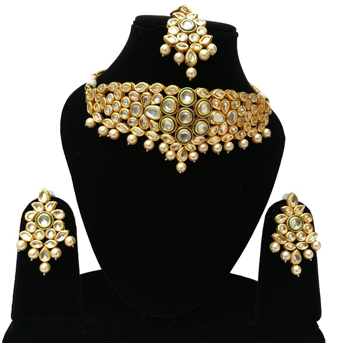Fkraft Kundan Gold Plated Latest Wedding Necklace Jewelry Set for Women Self Handmade FMK-GLD062