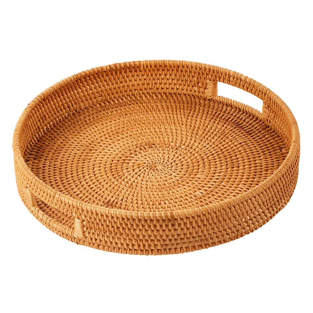 Rattan 手編み 円形 高壁 テーブル セブリングトレイ 食品収納 大皿 ハンドル付き L-35*6cm ブラウン 6660597 L-35*6cm  B07MYLH65N