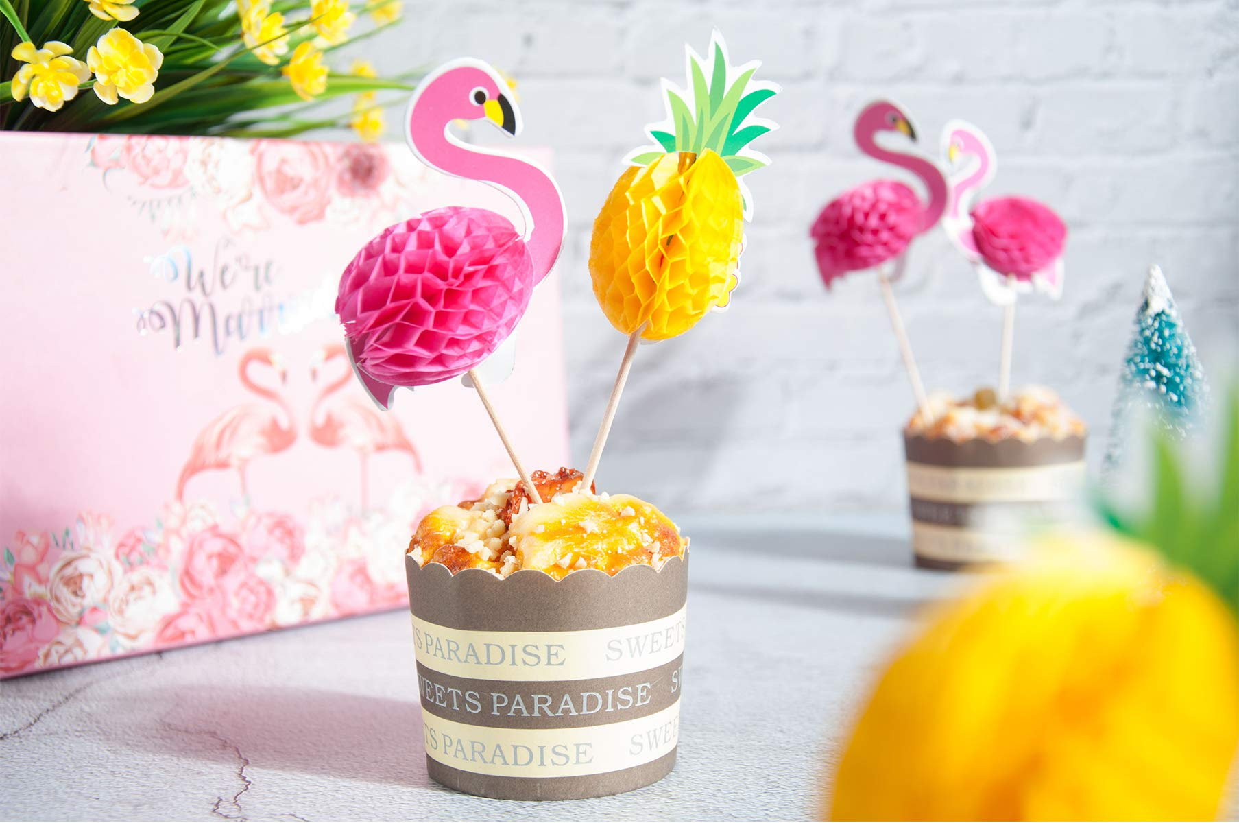Lauren 48 Pcs Cupcake Toppers 3D Flamingo and Pineapple Cupcakes Toppers Food Picks Party Cocktail for Party Tropical Cupcake Picks Decoration by Lauren (Image #2)