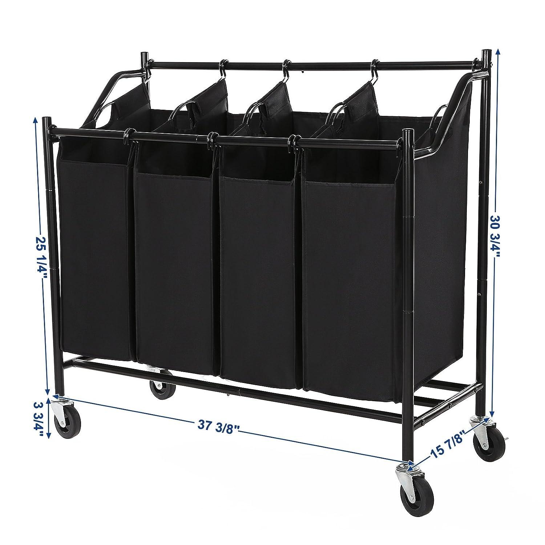 Amazon.com: Songmics – Carro de almacenaje de 4 bolsas ...