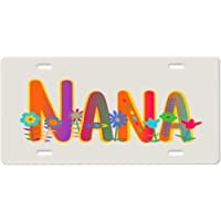 License Plate-Rainbow and Whimsical Flowers Quote on a Black background metal Vanity Car License Plate Tag Gi Gi Grandmother