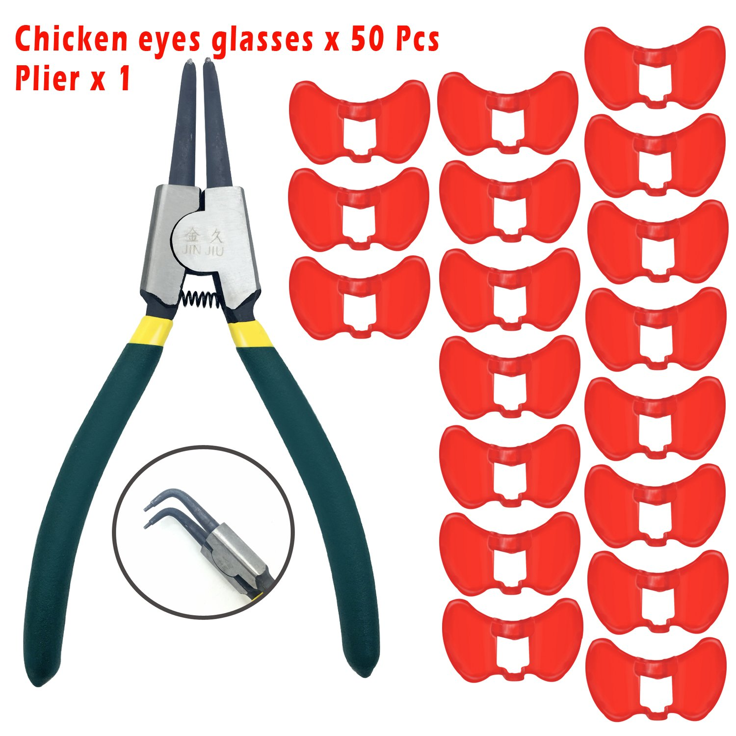 MMonDod 50Pcs Plastic Chicken Pinless Peepers with Plier Poultry Eye Glasses Blinders Spectacles Anti-Pecking Goggles Tool Professional Chicken Raising Equipment