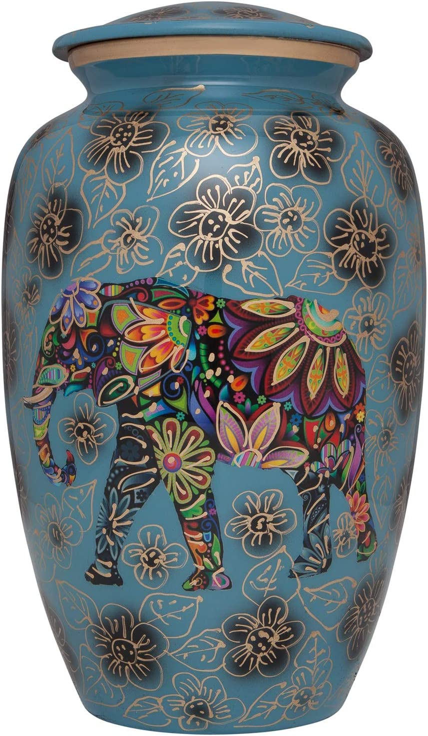 Blue Funeral urn with Elephant - Floral Spiritual Indian Design - Cremation Urn for Human Ashes - Aluminum -Suitable for Cemetery Burial or Niche - Large Size fits Remains of Adults up to 200 lbs