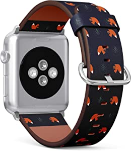 Compatible with Apple Watch 38/40mm (Small) - Replacement Accessory Leather Band Strap Bracelet Wristbands with Adapters (Squirrel Acorn Decorative Tree)