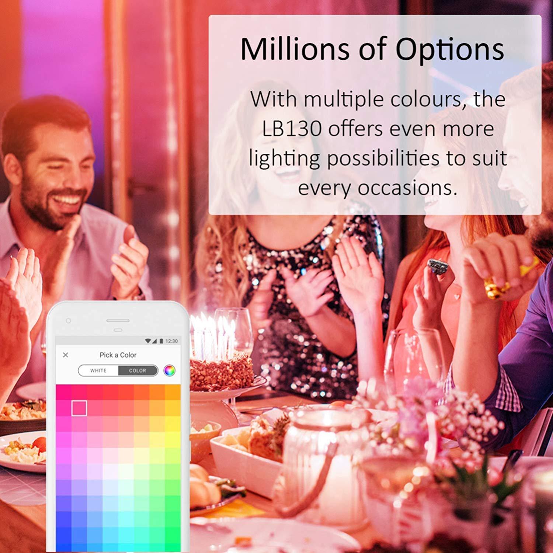 TP-Link Lampadina Wi-fi LB130 Controllo dei Dispositivi Ovunque Mediante Kasa App Risparmio Energetico fino al 80/% Compatibile con  Alexa e Google Home con Luce Colorata Regolabile