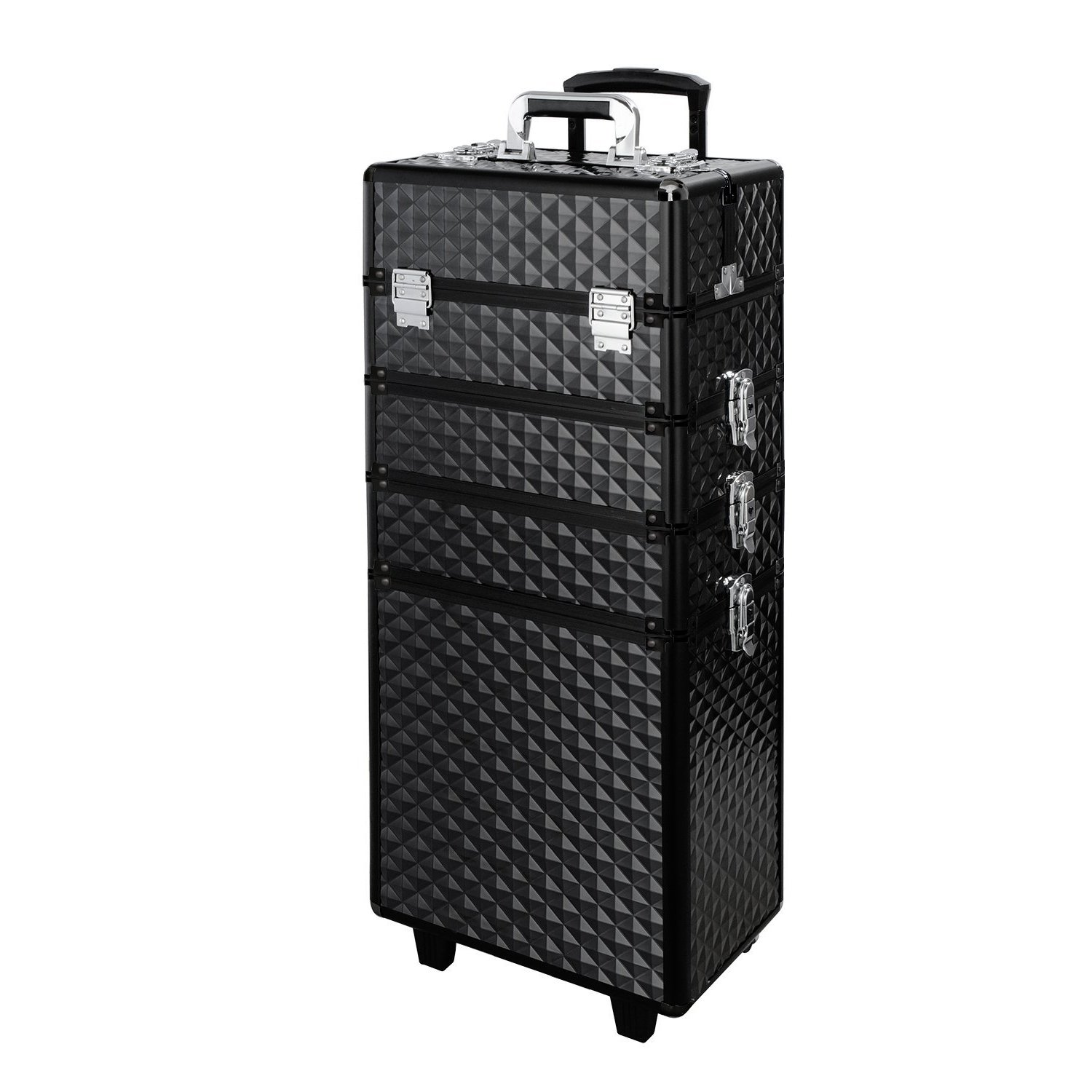 Qivange Makeup Train Case,4 in 1 Professional Rolling Makeup Trolley Case Aluminum Artists Jewelry Cosmetic Storage Case/w 2 Wheels(Diamond Black)