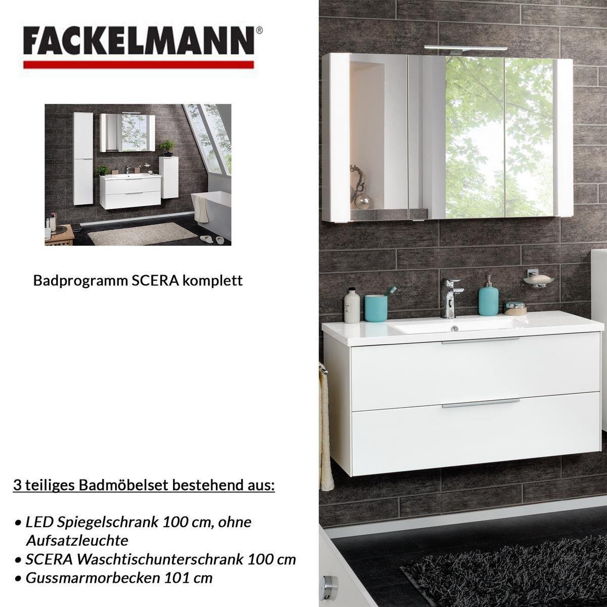 Fackelmann Badmöbel Set Scera 3-tlg. 100 cm weiß mit ...