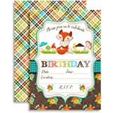 """Fall Fox Birthday Party Invitations, Ten 5""""x7"""" Fill In Cards with 10 White Envelopes by AmandaCreation"""