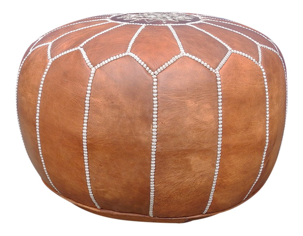 maisonmarrakech Handmade Leather Footstool Marrakech Tan Brown with White Stitching Unstuffed 23'' x 12'' by maisonmarrakech (Image #3)