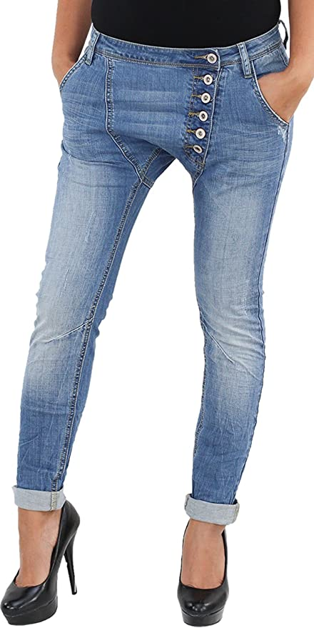 SOTALA Damen Boyfriend Jeans Chino Baggy Stretch Harems Hose Pumphose 8 Knopf