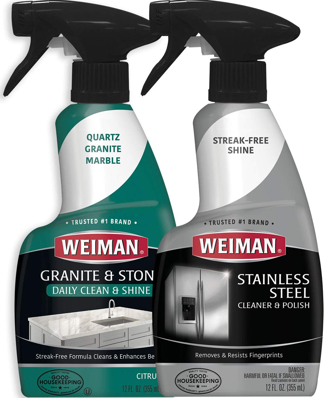 Weiman Stainless Steel & Granite Cleaner - 12 Ounce - for Countertop and Appliance Protect from Fingerprints Granite Cleaner and Polish - Enhance The Natural Beauty of Your Stone Surface - 12 Ounce by Weiman